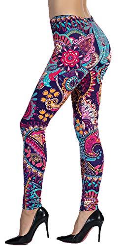 Ndoobiy Women's Printed Leggings Full-Length Regular Size Workout Legging Pants Soft Capri L1(MDL Flower OS)