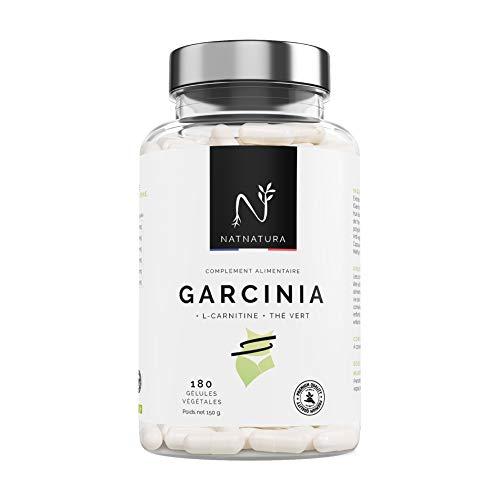 Garcinia cambogia + L-Carnitine + Thé vert. Brûleur de Graisse, 100% naturelle, Haute Concentration 60% HCA, pour perdre du poids et couper la faim, 180 gélules végétales.