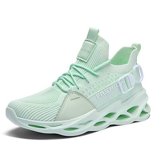 WateLves Herren Damen Laufschuhe Sportschuhe Straßenlaufschuhe Sneaker Joggingschuhe Turnschuhe Freizeitschuhe rutschfeste Schuhe Mesh Schuhe(yc.Apfel Grün,38 EU)