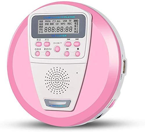 Nfudishpu Tragbarer CD-Player, wiederaufladbarer tragbarer CD-Player für Audio-CDs und MP3-Laufwerke U-Disk TF-Karte mit integriertem Lautsprecher Anti-Shock/ESP