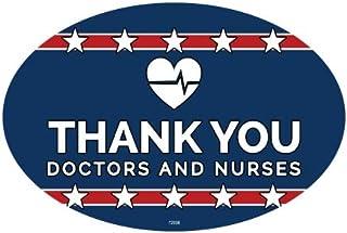 SJT ENTERPRISES, INC. Thank You Doctors & Nurses - Heart Logo - Patriotic Support Oval Car Magnets (SJT12698)