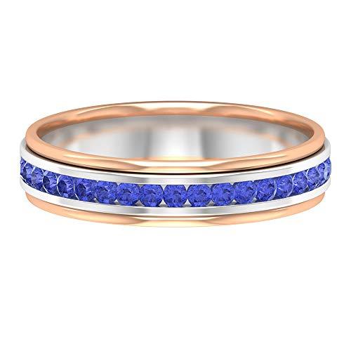 Anillo de eternidad, anillo único de tanzanita de 1/4 ct, anillo de dos tonos, anillo de piedra natal de diciembre, anillo de aniversario para ella, anillo de novia, 14K Oro blanco, Size:EU 69