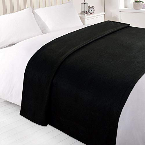 Dreamscene Große warme Polar-Fleece-Überwurf, weiche Sofa-Decke, einfarbig, schwarz, 150 x 200 cm, 100% Polyester