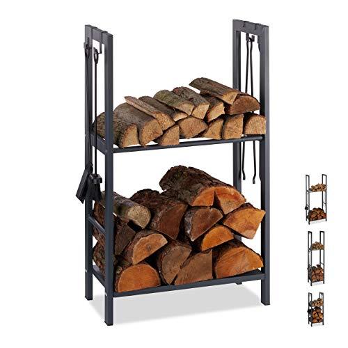 Relaxdays, anthrazit Kaminholzregal mit 2 Ablagen, aus Stahl, 4 Haken für Kaminbesteck, Brennholzregal HBT 100x60x30 cm, 100 x 60 x 30 cm