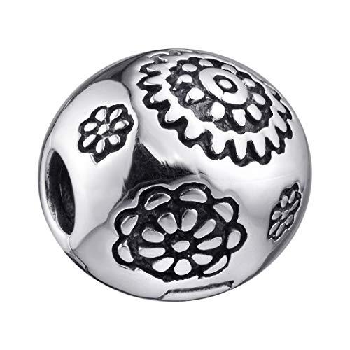 MATERIA beads stopper zilver 925 bloem - dames meisjes clip hanger bloem voor European Beads armband 1459