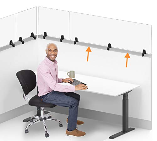 Stand Steady Clear Cubicle Wall Extender   Single 60 in x 24 in Panel   Clamp On Acrylic Shield & Sneeze Guard   Portable Desk Divider for Desk Walls & Cubicles   for Offices, Libraries & More