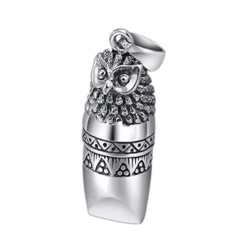 Hibou pendentif sifflet collier en argent Sterling 925 survie d'urgence en plein air randonnée camping