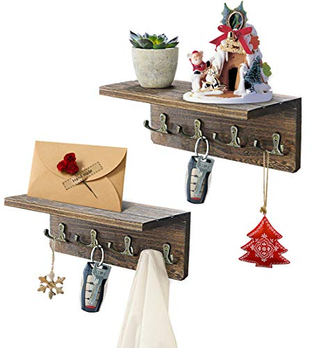 Set of 2 Wall Mounted Key Holder with Shelf Wood Key Rack hangers Holder for Wall with 8 Hooks Wall Floating Shelf for Entryway Kitchen Office Bathroom Bedroom Rustic Gray (With Artificial Succulents)