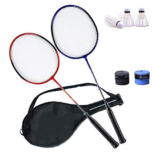 Rebily Badmintonschläger Einzel-und Doppel-Schläger Erwachsene Paare Männliche und weibliche Anfänger Badmintonschläger, je eine in Rot und Blau
