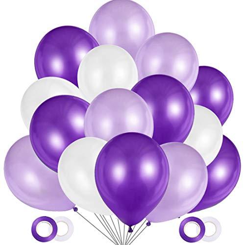 O-Kinee Palloncini Lilla, 100 Pezzi Palloncini Viola e Bianchi in Lattice, Palloncini Elio 12 Pollici per Matrimonio 18 Anni Compleanno Battesimo Festa Decorazione