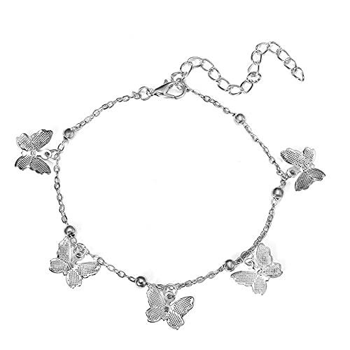 Pulseras Para Mujer Butterfly Colgante Playa Tobetle Pulsera Pierna Metal Ajustable Bead Beadlet Jewelry Mujeres-W