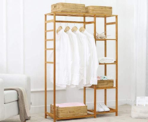 ybaymy Perchero de madera de bambú con estante para...