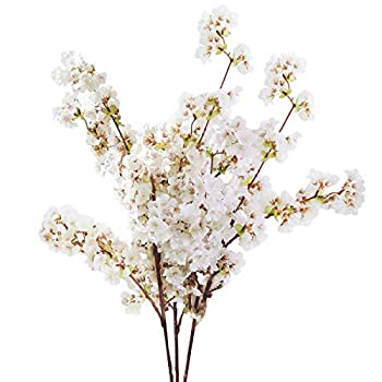 Sunm boutique Silk Cherry Blossom Branches Artificial Cherry Blossom Tree Stems Faux Cherry Flowers Vase Arrangements for Wedding Home Decor Set of 3