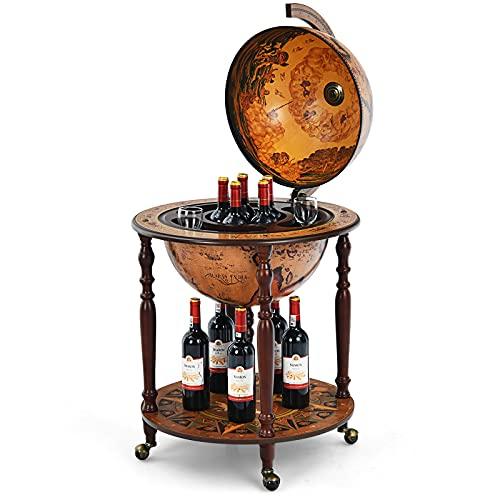 "Goplus 18"" Globe Wine Bar Stand, 16th Century Italian Replica Wine Cabinet with Wheels, Rustic Wood Liquor Bottle Shelf, Movable Globe Wine Rack Bar Cart for Dining Room & Living Room (Retro Brown)"