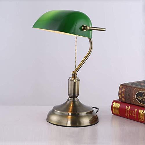 Lámpara de escritorio Lámpara de mesa clásica Lámpara de banquero tradicional, lámpara de mesa de cristal verde esmeralda antigua, con interruptor de tirón de cuentas de metal, boca de rosca retro Nig