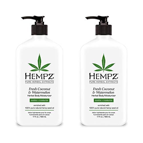 Natural Herbal Body Moisturizer: Fresh Coconut & Watermelon Moisturizing Skin Lotion, 17 Fl Oz - 2 Pack