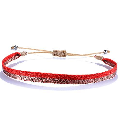 Kanyee Bracelets Tour Tissé Bohémien Bracelets Extensible Coloré Fait A La Main Bracelets Vintage Beaux pour Femmes