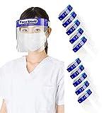 フェイスシールド, 20枚 防災面 スプラッシュシールド 顔面保護マスク フェイスシールド 曇り止め 透明 目を保護 軽量 通気性 安全 簡単装着 調整可能 (20)