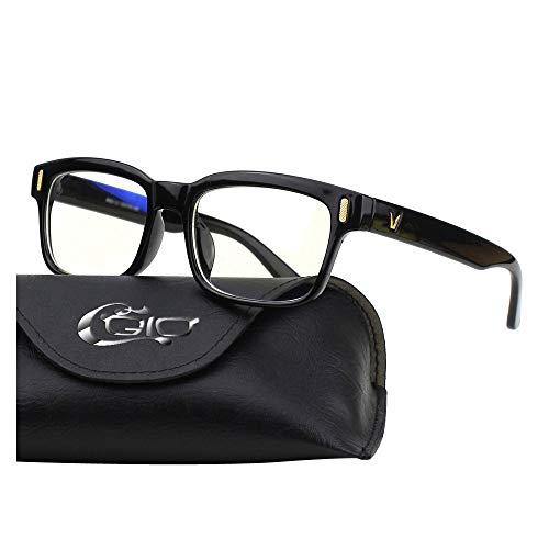 CGID CT84 Gafas para Protección contra Luz Azul, para Computadora, Lectura, Video Juegos, Protección de Fatiga Visual y contra Rayos UV,Rectángulo Vintage, Lentes Transparente