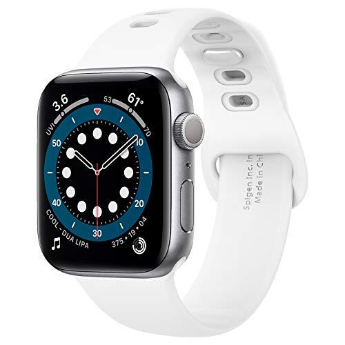 Spigen Silicone Fit Compatible con Apple Watch Cinturino per 44mm Serie 6/SE/5/4 e 42mm Serie 3/2/1 - Bianco