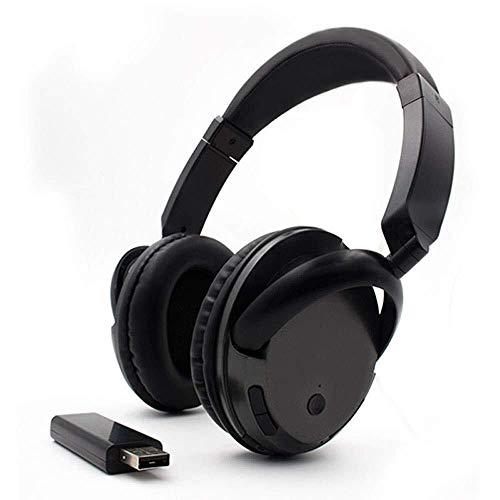 Bradoner Auriculares cómodos inalámbricos portátiles Hi-Fi estéreo multifunción para TV sobre auriculares con radio FM 2.4GHz transmisor, RCA y adaptador estéreo de 3.5mm