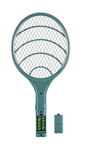 Bug Zapper Electric Fly Swatter Handheld 3000volt Mosquito Fly Killer and Bug Zapper Racket for Indoor and Outdoor Pest Control (Blackish Green)