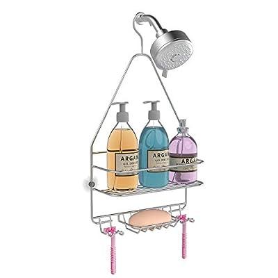 KeFanta Hanging Shower Caddy, Shower Organizer Shelf, Bathroom Storage Rack Over Shower Head, Shampoo Soap Holder, Chrome