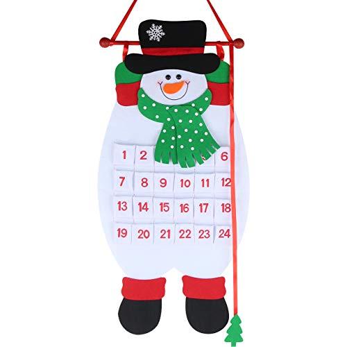 Calendario de Adviento para Rellenar, Calendario de Adviento Tela, Navidad Calendario Rellenable, Calendario Colgante Lindo Diseño, Reutilizable, Tela, 24 Bolsillos, Decoración Navideña, Regalos