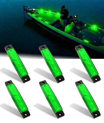 Shangyuan Interior Marine Strip Lights, 6 Led Utility Strips, Marine Led Strip, White Led Courtesy Light, 12v Led Marine Light, Marine Interior Lights, Boat Interior Led Lights, Green, 6PCS
