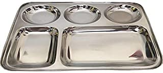 Chanaksha Trading Rectangular Dinner Plate Combo of 5 in 1 Rectangle 5 Compartment Divided Plate/Thali/Bhojan Thali/Mess Tray/Dinner Plate