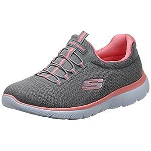 Skechers womens Summits Sneaker, Grey/Pink, 8.5 Wide US