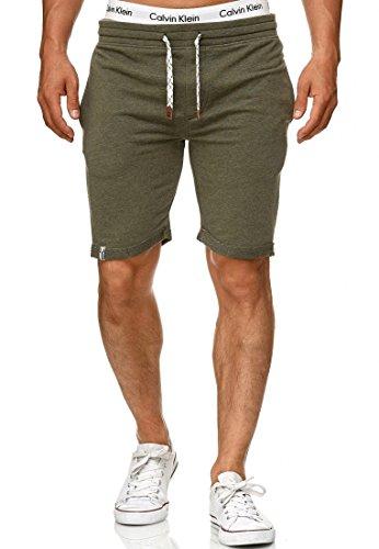 Indicode Caballero Aldrich Pantalones Cortos de Sudadera con Interior Polar y cordón | Corto Pantalón Shorts De Deporte chándal Sweat Pants Entrenamiento para Hombres Beetle L