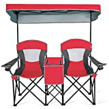 Goplus Double Camping Seat w/Shade Canopy, Mini Table Beverage Holder Carrying Bag for Beach Patio Pool Park Outdoor Portable Folding Beach Chairs (Red)