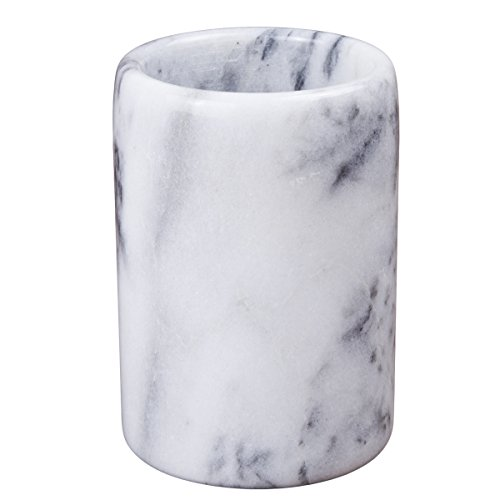 Creative Home 83001 Natural Marble Pen Pencil Holder Cup, 3-1/4' Diam. x 4-1/2' H, Off-White (patterns may very)