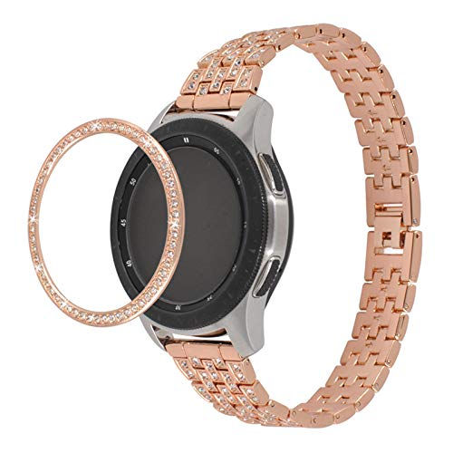 "MVRYCE Gear S2 Uhrenarmband, 5,5""-8,0"" Ersatzbänder 20mm Edelstahl Schmuck Armband mit Bling Lünette Kompatibel für Galaxy Watch 3 41mm/Galaxy Watch 46mm/Active 40mm/Active2 40mm 44mm, Dunkles Gold"