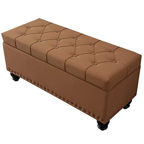 WHOJA Puff Almacenaje Plegable Taburete de sofá Rectangular Rayar el Cuero PU Resistente Dormitorio heces Extremo de la Cama Almacenamiento Zapato hogar cambiando Las heces 80x40x45cm Otomanos