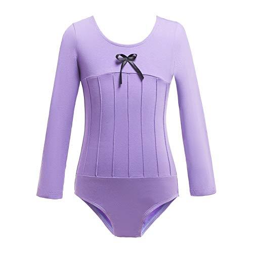 Shiningbaby Gymnastik Trikot Kind Mädchen Langarm Süße Einteilige Langarm Tanz Sportlich Üben Kostüme für Alter 3-12 Jahre alt