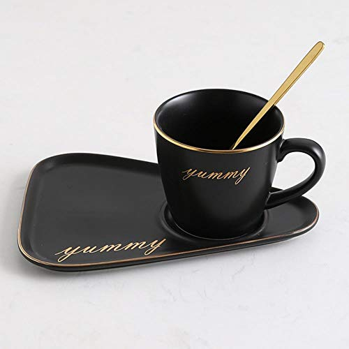 WYCYZJ Europese Luxe Keramische Kantoor Koffiekop En Schotel Set Melk Thee Mokken Verjaardag Koppels GeschenkenCup Met Lepel, zwart gouden woord