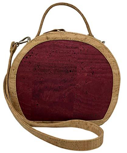 Kaibe Bolso redondo bandolera de corcho Bolso de mano de corcho para mujer vegano Mochila de hombro Bolso de corcho moderno coloreado con cremallera y asa (Burdeos)