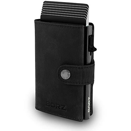 BORZ Prime ® MAXUS Mini Wallet Herren Damen (mit Münzfach) | Slim Wallet Credit Cardholder | Kreditkartenetui | RFID Schutz | Premium Geldbörse | Geldbeutel für Karten & Scheine Echtes Leder