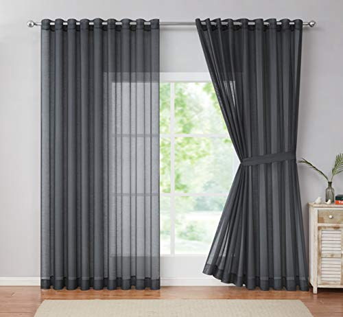"""LinenZone - Grommet Semi-Sheer Extra Wide - 99 Inch Long - 2 Wall-to-Wall Curtain Panels - Total Size 216 Inch Wide (108 Inch Each Panel) (2 Panels - 108"""" W x 99"""" L - Each Panel, Charcoal)"""