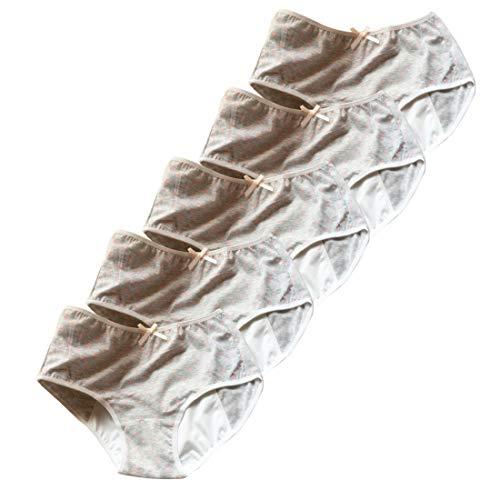 IOSHAPO Damesfysiologisch Ondergoed Dot Design Mid-Taille Ademend Katoen Lekvrije Periode Panty (Pak Van 5)