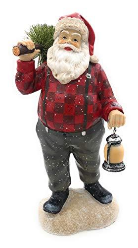 HappyGifts Weihnachtsmann mit LED Laterne und Tannenbaum, Santa Claus mit Beleuchtung
