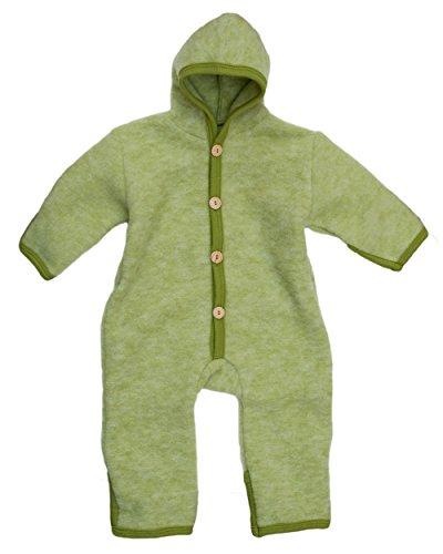 Cosilana, Nowy kombinezon dziecięcy z polaru z kopertą, 60% żywej wełny (kbT), 40% bawełny (KBA), Zielony melanż, 50-56