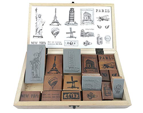 ALIMITOPIA Diary Stamp Set,Wooden Rubber Signet for Children DIY Scrapbooking Planner Card Making(17pcs,Around The World)