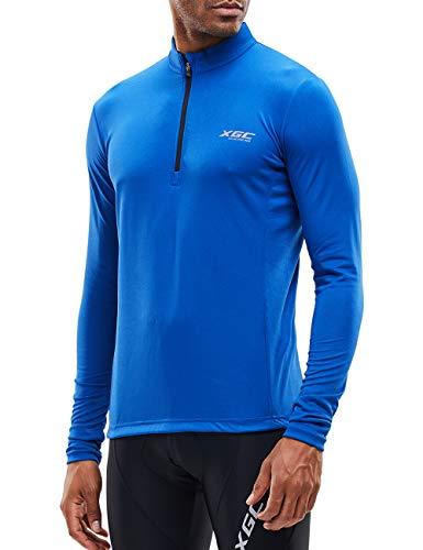 Herren Kurzarm/Langarm Radtrikot Fahrradtrikot Radshirt Fahrradshirts Fahrradbekleidung für Männer mit Elastische Atmungsaktive Schnell Trocknen Stoff (039 Blue, XL)