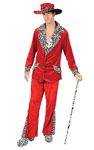 ORION COSTUMES Costume de déguisement chapeau de gangster et combinaison rouge de mac en velours années 70 pour hommes