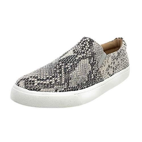 Zapatos Casuales de Mujer Zapatos Planos Barco ZARLLE Zapatillas de Deportiva Patrón de Serpiente Sneakers para Caminar Walking Calzado Transpirables Loafer Ligeros Mocasines Verano