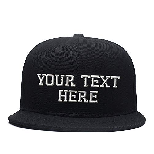 Custom Hat, Embroidered. Your Own Text. Adjustable Back. Curved Bill Black