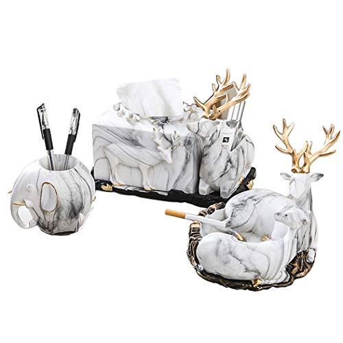 HONGNA Boîte À Mouchoirs en Résine De Style Européen Salon Cendrier Porte-Stylo Décoration De Bureau Creative Deer Home Décoration Table Basse Décoration (Taille : 3)